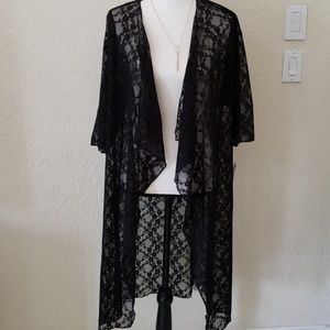 Lularoe Shirley Kimono Wrap Black Lace